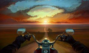мотоцикл едет по дороге