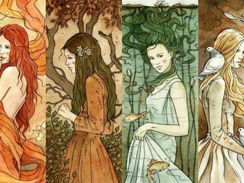 Девушки изображающие 4 стихии, огонь, землю, воду и воздух